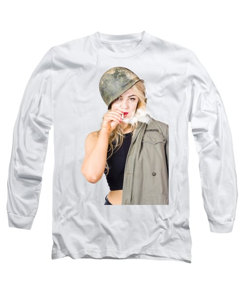 Tough And Determined Female Pin-up Soldier Smoking Long Sleeve T-Shirt