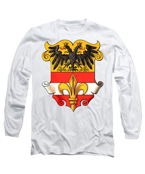 Long Sleeve T-Shirt featuring the drawing Triest Coat Of Arms 1467-1919 by Hugo Stroehl