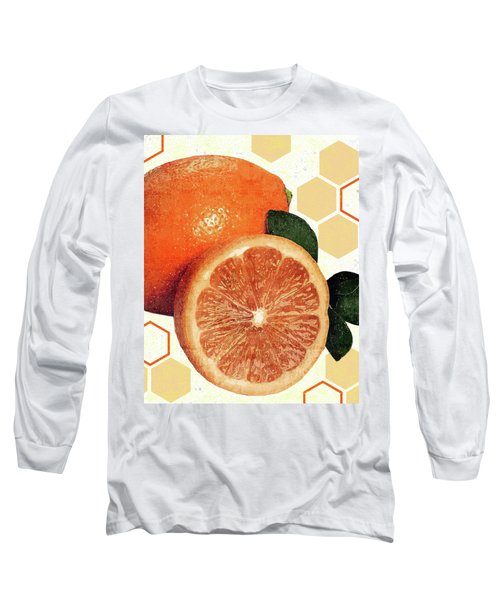 Tropical Print - Orange, Grapefruit, Tangerine - Modern Wall Art Print - Tropical Poster Long Sleeve T-Shirt