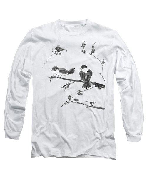 Two Birds And Cherry Blossoms Long Sleeve T-Shirt