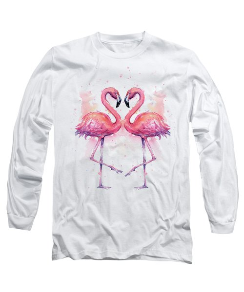 Two Flamingos In Love Watercolor Long Sleeve T-Shirt