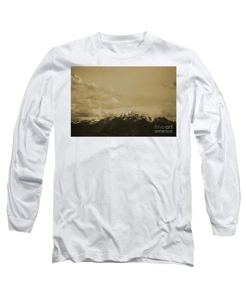 Utah Mountain In Sepia Long Sleeve T-Shirt