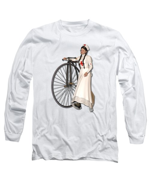 Victorian Nurse Along Penny Farthing Bicycle Long Sleeve T-Shirt