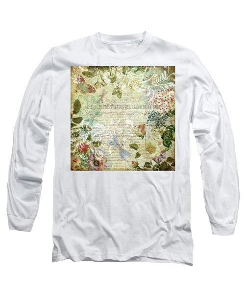 Vintage Botanical Illustration Collage Long Sleeve T-Shirt