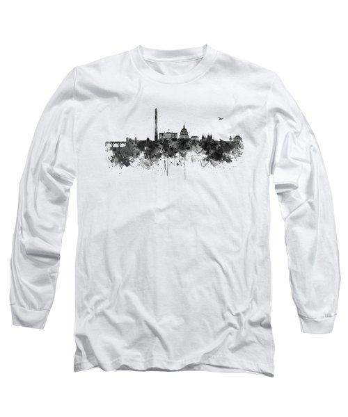 Washington Dc Skyline - Black And White Long Sleeve T-Shirt