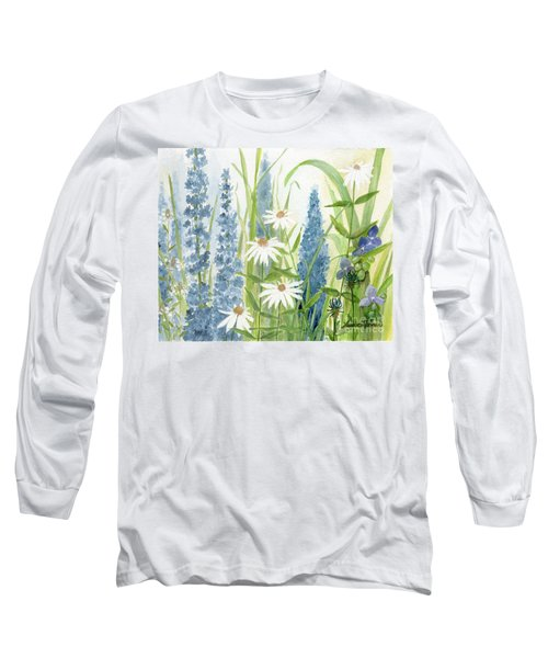 Watercolor Blue Flowers Long Sleeve T-Shirt