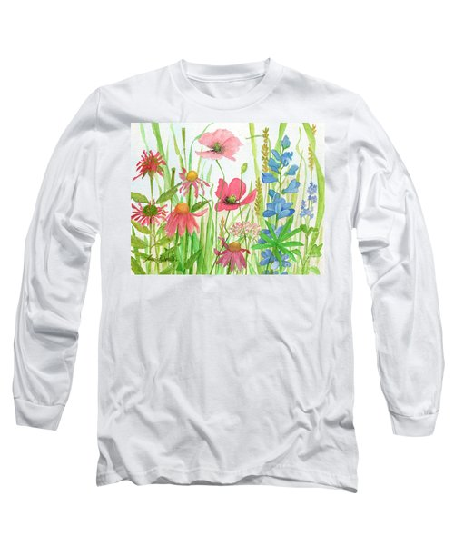 Watercolor Touch Of Blue Flowers Long Sleeve T-Shirt