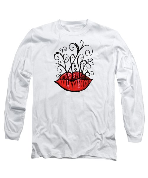Weird Lips Ink Drawing Tattoo Style Long Sleeve T-Shirt