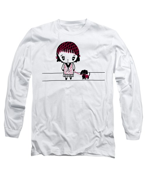 Whimsy Girl And Dog In Black And Red Long Sleeve T-Shirt