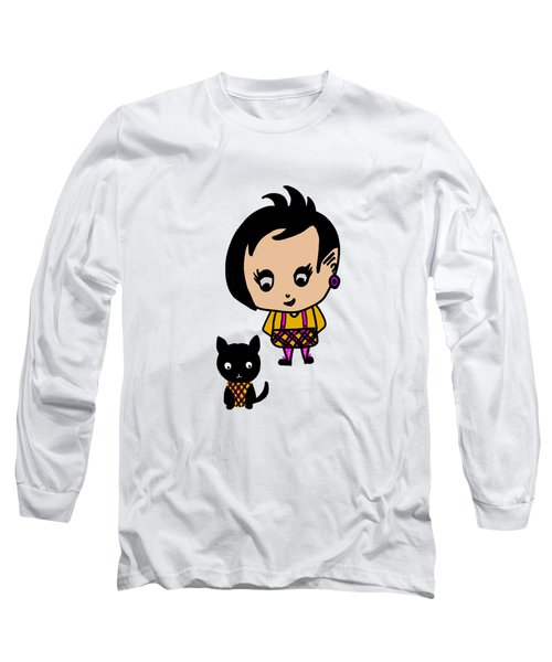 Whimsy Girl And Dog In Tartan Long Sleeve T-Shirt