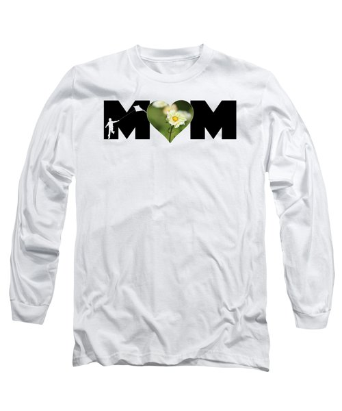 White Cosmos In Heart With Little Boy Mom Big Letter Long Sleeve T-Shirt