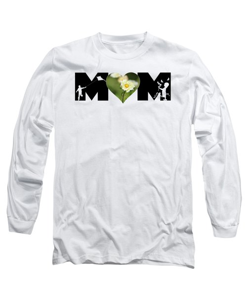 White Cosmos In Heart With Little Girl And Boy Mom Big Letter Long Sleeve T-Shirt
