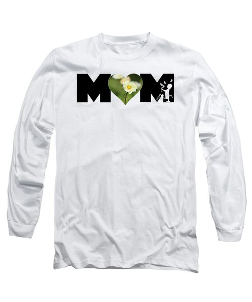 White Cosmos In Heart With Little Girl Mom Big Letter Long Sleeve T-Shirt