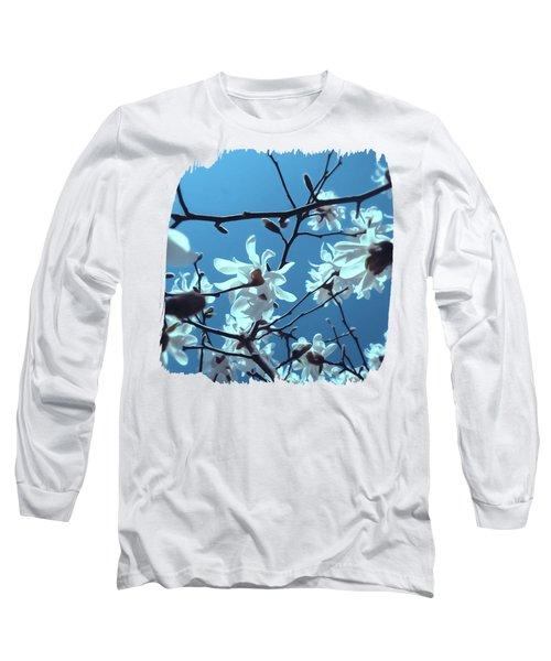 White Magnolia Bloom Blue Sky Long Sleeve T-Shirt