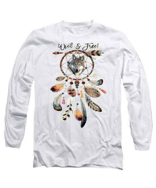 Long Sleeve T-Shirt featuring the mixed media Wild And Free Wolf Spirit Dreamcatcher by Georgeta Blanaru