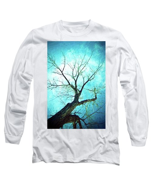 Long Sleeve T-Shirt featuring the photograph Winter Tree Blue  by James BO Insogna