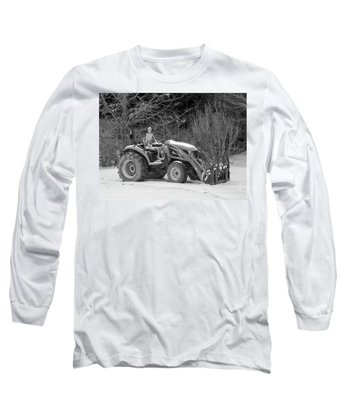 Wintry Country Skeleton On Tractor Long Sleeve T-Shirt