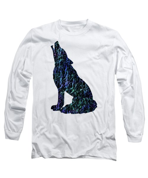 Wolf Watercolor Painting Long Sleeve T-Shirt