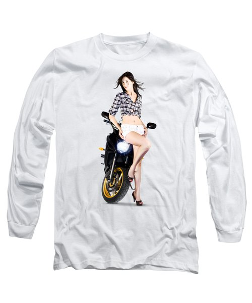 Woman Leaning On A Motorbike Long Sleeve T-Shirt