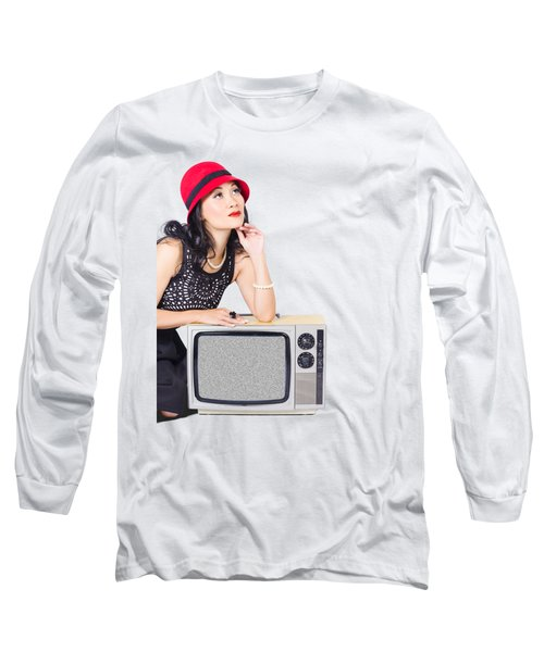 Woman On Retro Tv. Fifties Copyspace Broadcast Long Sleeve T-Shirt