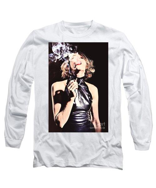 Woman Smoking A Cigarette Long Sleeve T-Shirt