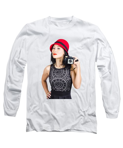 Woman With An Old Camera Long Sleeve T-Shirt