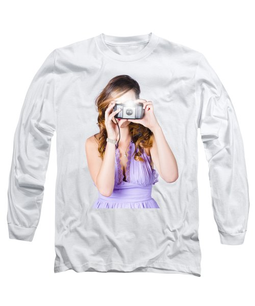 Woman With Camera On White Background Long Sleeve T-Shirt