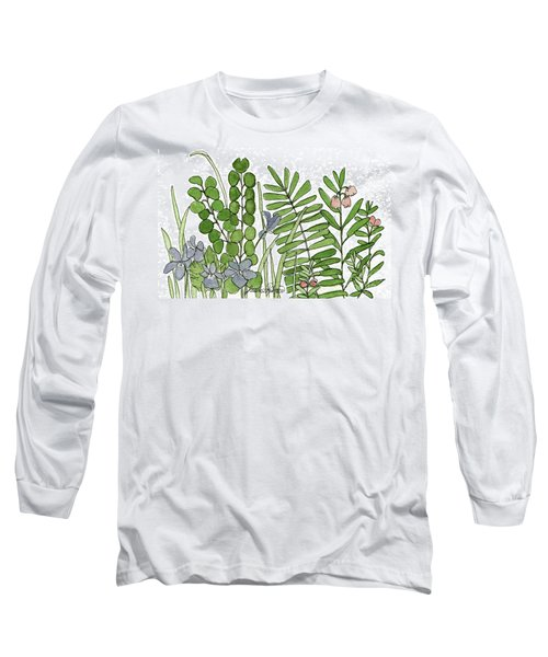 Woodland Ferns Violets Nature Illustration Long Sleeve T-Shirt