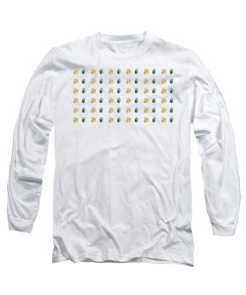 Long Sleeve T-Shirt featuring the painting Yellow And Green Present Pattern by Maria Langgle