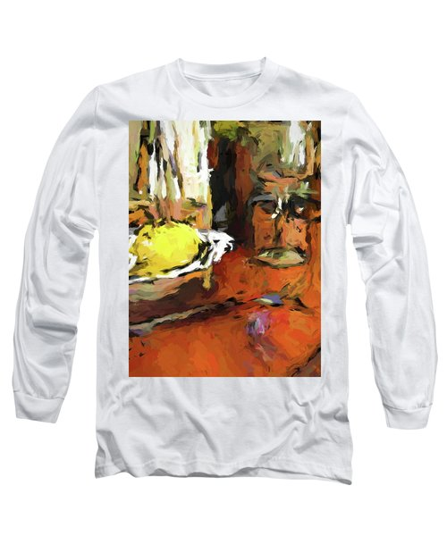 Yellow Lemon And The Wine Glass Long Sleeve T-Shirt