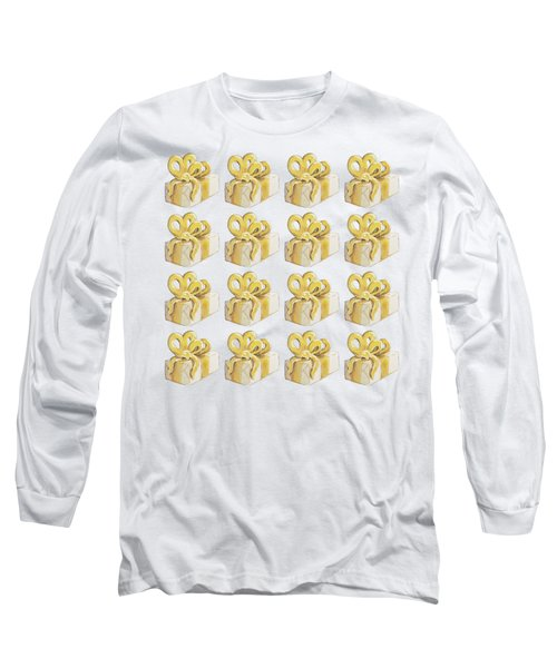 Long Sleeve T-Shirt featuring the painting Yellow Presents Pattern by Maria Langgle