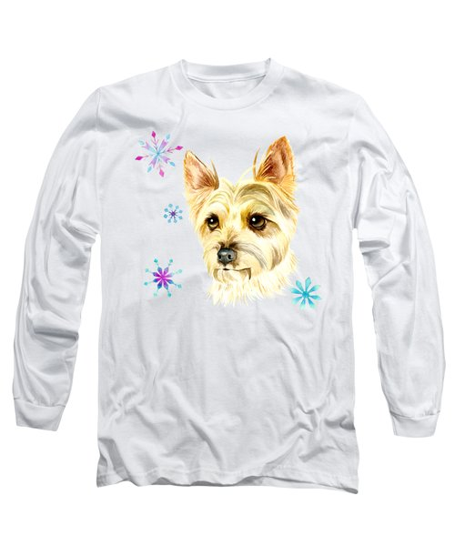 Yorkie Dog And Snowflakes Long Sleeve T-Shirt