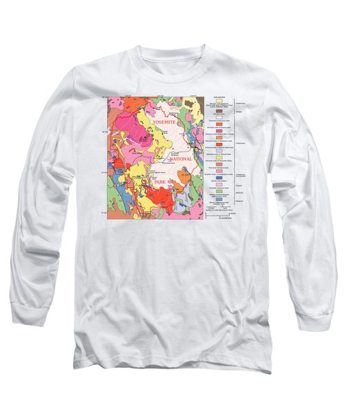 Yosemite National Park Contemporary Geological Map Long Sleeve T-Shirt