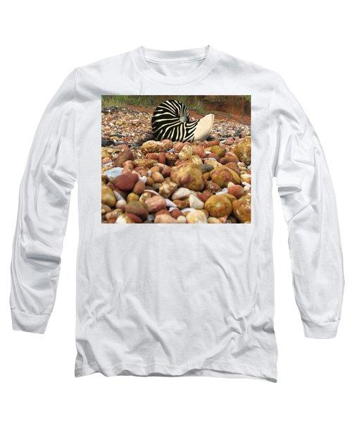 Zebra Nautilus Shell On Bauxite Beach Long Sleeve T-Shirt