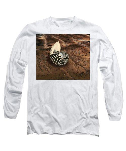 Zebra Nautilus Shell On The Sand Long Sleeve T-Shirt