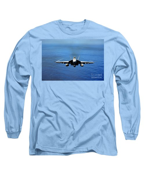 Long Sleeve T-Shirt featuring the photograph  A Fa-18 Hornet Demonstrates Air Power. by Paul Fearn