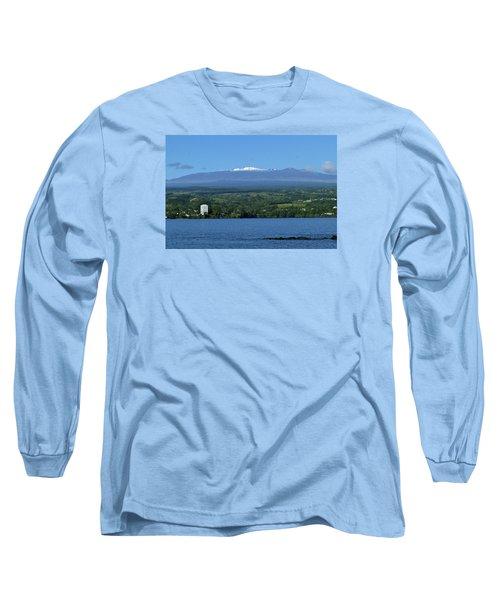 Hawaii's Snow Above Hilo Bay Hawaii Long Sleeve T-Shirt by Lehua Pekelo-Stearns