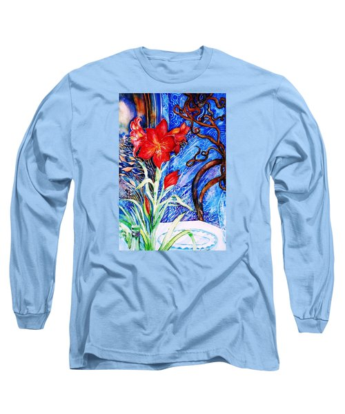 Long Sleeve T-Shirt featuring the painting  Red Amaryllis  by Trudi Doyle