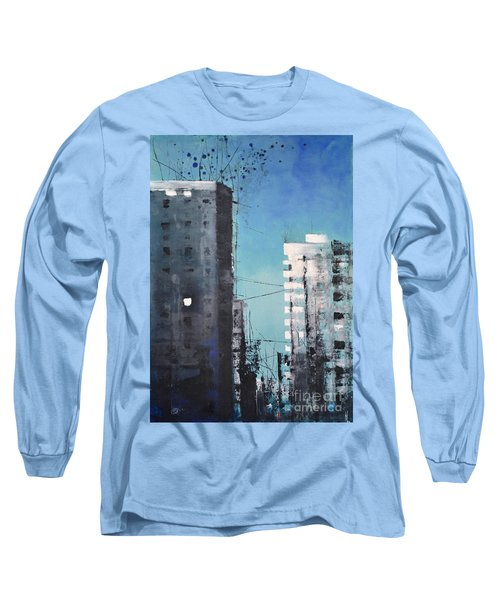 Long Sleeve T-Shirt featuring the painting  Rotterdam by Maja Sokolowska