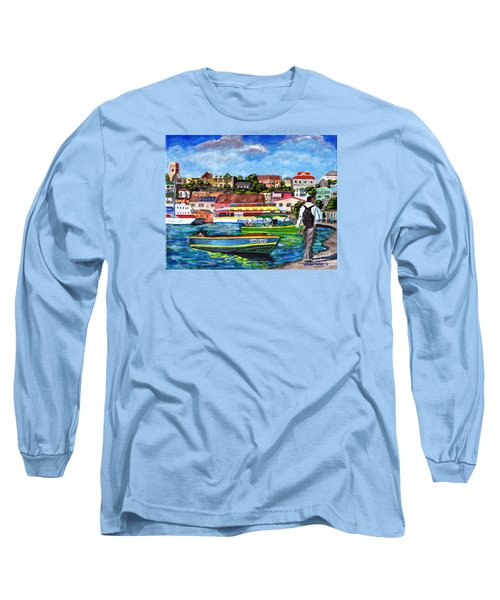 A Stroll On The Carenage Long Sleeve T-Shirt by Laura Forde