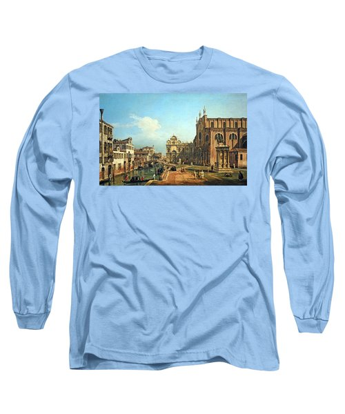 Bellotto's The Campo Di Ss. Giovanni E Paolo In Venice Long Sleeve T-Shirt by Cora Wandel