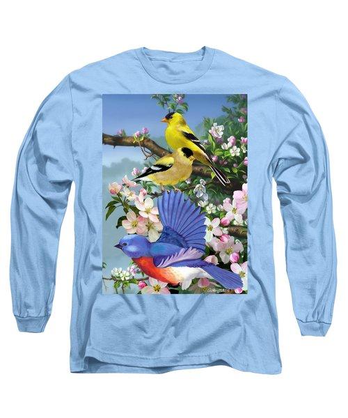 Bluebird And Goldfinch Long Sleeve T-Shirt