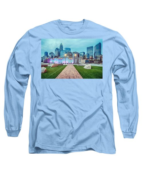Charlotte City Skyline In The Evening Long Sleeve T-Shirt