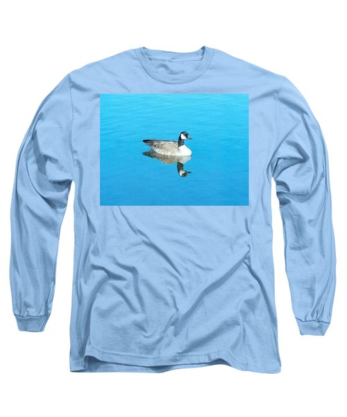 Long Sleeve T-Shirt featuring the photograph Mirror Goose by Kerri Mortenson