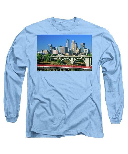 Morning View Of Minneapolis, Mn Skyline Long Sleeve T-Shirt
