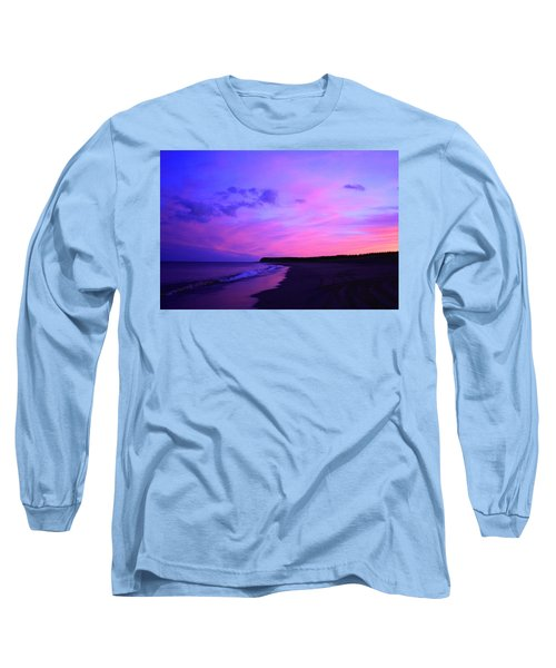 Pink Sky And Beach Long Sleeve T-Shirt by Jason Lees