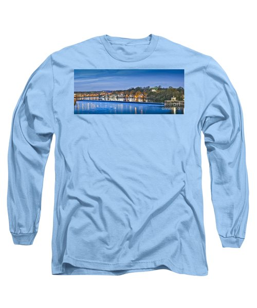 Schuylkill River  Boathouse Row Lit At Night  Long Sleeve T-Shirt