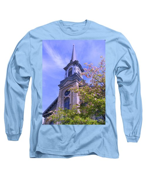 Long Sleeve T-Shirt featuring the photograph Steeple Church Arch Windows 1 by Becky Lupe