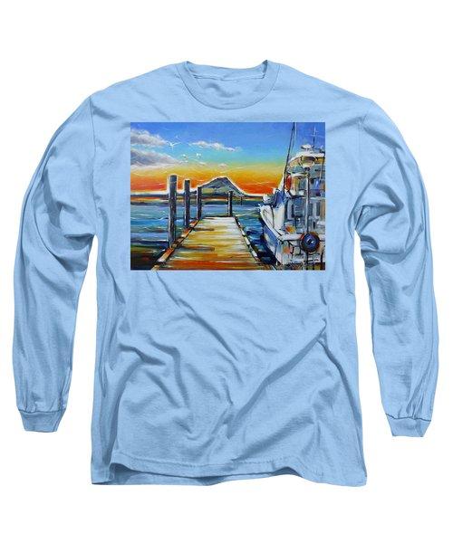 Long Sleeve T-Shirt featuring the painting Tauranga Marina 180412 by Selena Boron