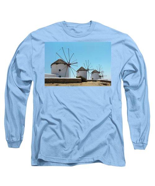 Traditional Windmills  Chora, Mykonos Long Sleeve T-Shirt